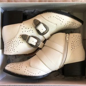 White Studded Western Bootie